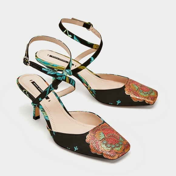 090e8f0296c ZARA EMBROIDERED KITTEN HEEL SLINGBACK SHOES